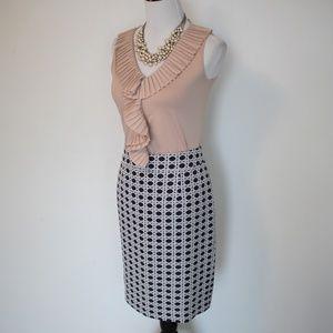 BANANA REPUBLIC Size 8 Blue Ivory Pencil Skirt